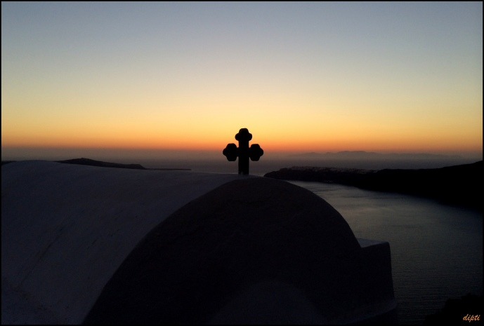 Greece oia church sunset