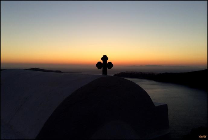 Greece oia church sunset