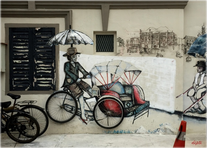 Man Cycle rickshaw penang art