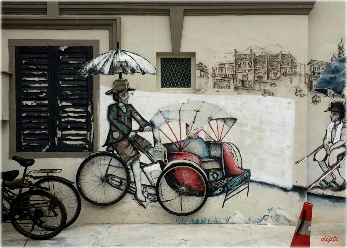 Man Cycle rickshaw penang art