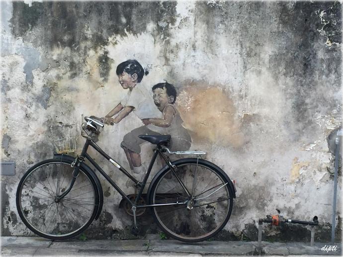 Ernest Zacharevic children bicycle