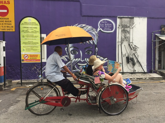 tourist cycle rickshaw penang art