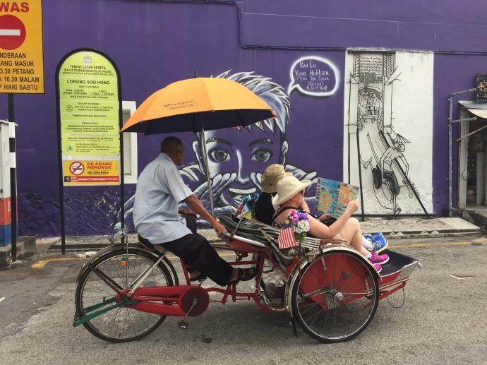tourist cycle rickshaw penang art